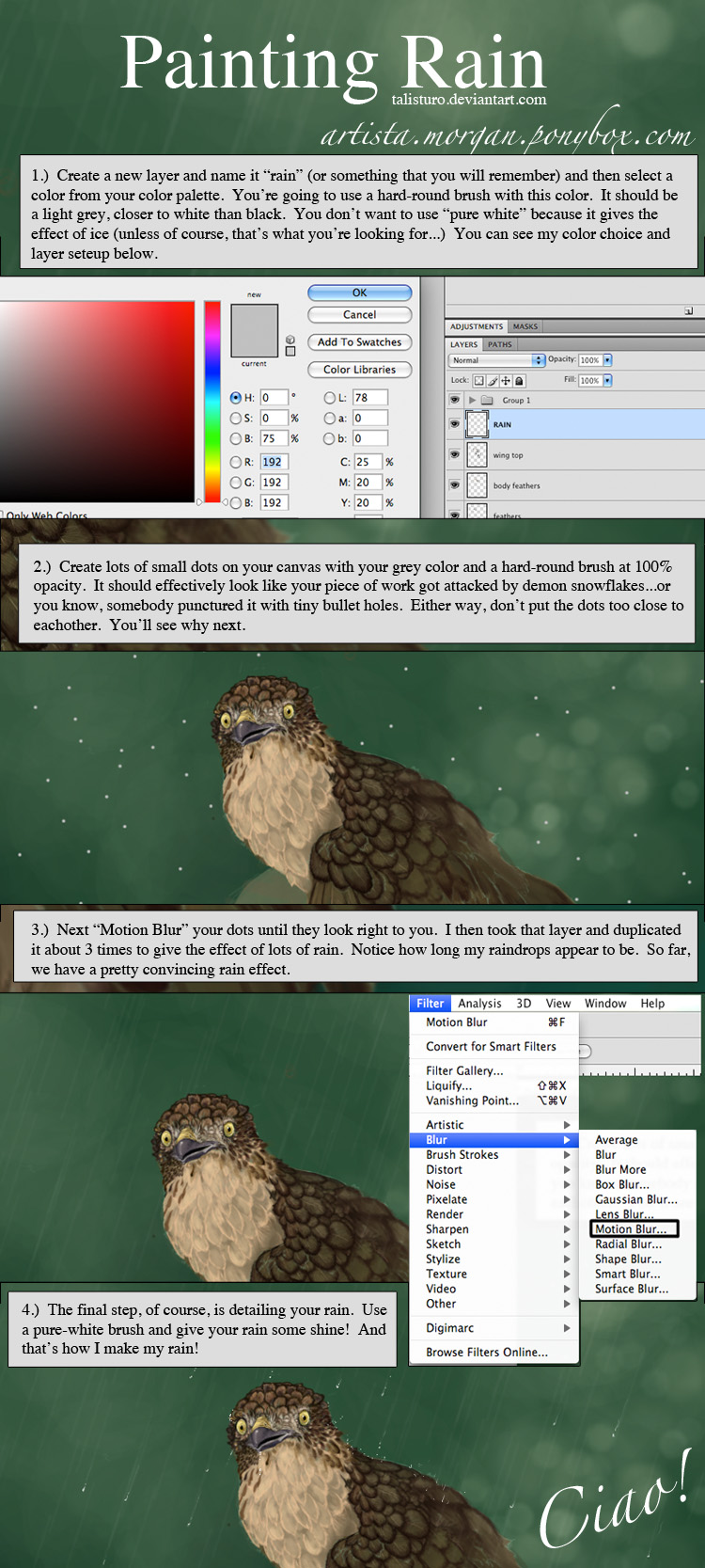 How To Add Rain To Graphics Using Photoshop